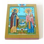 Адриан Ондрусовский и Николай Чудотворец, икона на доске 13*16,5 см - Иконы