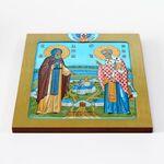 Адриан Ондрусовский и Николай Чудотворец, икона на доске 30*36 см - Иконы