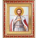 Благоверный князь Александр Невский, икона в рамке с узором 19*22,5 см - Иконы