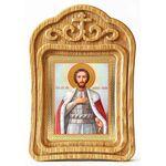 Благоверный князь Александр Невский, икона в резной деревянной рамке - Иконы