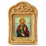 Великомученик Иоанн Новый Сочавский, икона в резной деревянной рамке - Иконы