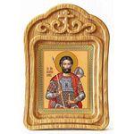 Мученик Иоанн Воин, икона в резной деревянной рамке - Иконы