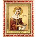 Равноапостольная царица Елена, икона в рамке с узором 19*22,5 см - Иконы