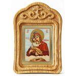 Почаевская икона Божией Матери, резная деревянная рамка - Иконы
