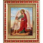 Ангел Хранитель с душой человека, икона в рамке с узором 19*22,5 см - Иконы