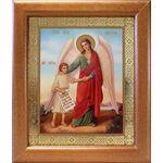 Ангел Хранитель с душой человека, икона в широкой рамке 19*22,5 см - Иконы