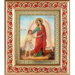 Ангел Хранитель с душой человека, рамка с узором 14,5*16,5 см - Иконы
