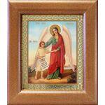 Ангел Хранитель с душой человека, икона в широкой рамке 14,5*16,5 см - Иконы