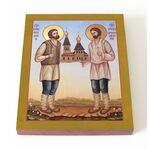 Мученики Петр Жуков и Прохор Михайлов, икона на доске 13х16,5 см - Иконы
