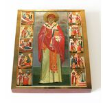Святитель Спиридон Тримифунтский с житием, печать на доске 13*16,5 см - Иконы