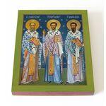 Собор трех святителей, печать на доске 13*16,5 см - Иконы