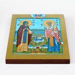 Адриан Ондрусовский и Николай Чудотворец, икона на доске 20*25 см - Иконы