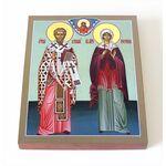 Священномученик Киприан и мученица Иустина, икона на доске 8*10 см - Иконы