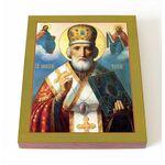 Святитель Николай Чудотворец, печать на доске 8*10 см - Иконы