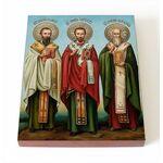 Собор трех святителей, икона на доске 8*10 см - Иконы