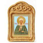 Блаженная Матрона Московская в зеленом платье, икона в резной рамке - Иконы