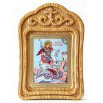 Великомученик Георгий Победоносец на коне, икона в резной рамке - Иконы