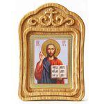 Спас Вседержитель в красном облачении, икона в резной рамке - Иконы