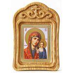 Казанская икона Божией Матери в красном облачении, резная рамка - Иконы
