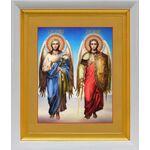 Архангелы Михаил и Гавриил, икона в белом киоте 19*22 см - Иконы