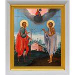 Святые Прокопий и Иоанн Устюжские, XVIII век, белый киот 18,5*22 см - Иконы