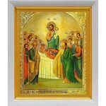 Успение Пресвятой Богородицы, икона в белом киоте 19*22 см - Иконы