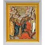 Воскрешение Лазаря, икона в белом киоте 19*22 см - Иконы