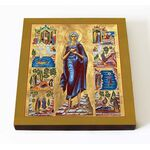 Преподобная Мария Египетская с житием, икона на доске 14,5*16,5 см - Иконы