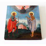 Святые Прокопий и Иоанн Устюжские, XVIII век, на доске 14,5*16,5 см - Иконы