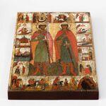 Борис и Глеб с житием, Москва, XIV век, икона на доске 18*26 см - Иконы