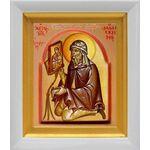 Преподобный Иоанн Дамаскин, икона в белом киоте 14*16 см - Иконы