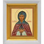 Преподобная Аполлинария, икона в белом киоте 14*16 см - Иконы