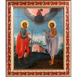 Святые Прокопий и Иоанн Устюжские, XVIII век, рамка с узором 19*22,5см - Иконы