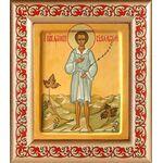 Праведный Артемий Веркольский, отрок, икона в рамке с узором 14,5*16,5 - Иконы