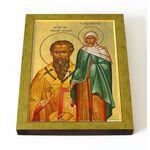 Василий Великий и Емилия Кесарийская, икона на доске 13*16,5 см - Иконы