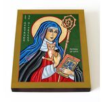 Преподобная Гертруда Нивельская, икона на доске 13*16,5 см - Иконы