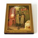 Преподобные Спиридон и Никодим Печерские, печать на доске 13*16,5 см - Иконы