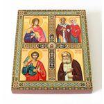 Четырехчастная икона со святыми, печать на доске 13*16,5 см - Иконы