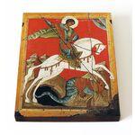 Чудо Георгия о змие, Новгород, конец XIV в, икона на доске 13*16,5 см - Иконы