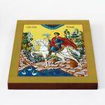 Мученик Трифон Апамейский на коне, икона на доске 20*25 см - Иконы