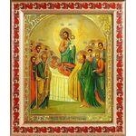 Успение Пресвятой Богородицы, икона в рамке с узором 19*22,5 см - Иконы