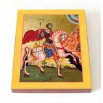 Великомученик Евстафий Плакида, Римский, икона на доске 8*10 см - Иконы