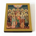 Собор двенадцати целителей, икона на доске 8*10 см - Иконы