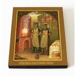 Преподобные Спиридон и Никодим Печерские, икона на доске 8*10 см - Иконы