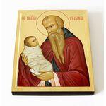 Преподобный Стилиан Пафлагонский, Чадозаступник, печать на доске 8*10 - Иконы