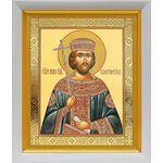 Равноапостольный Константин Великий, белый киот 19*22 см - Иконы