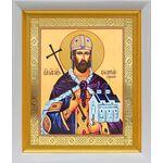 Благоверный князь Владислав Сербский, икона в белом киоте 19*22 см - Иконы