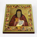 Преподобный Агапит Печерский с житием, икона на доске 30*40 см - Иконы
