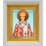 Святитель Никита Новгородский, икона в белом киоте 14*16 см - Иконы