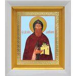 Благоверный князь Даниил Московский, икона в белом киоте 14*16 см - Иконы